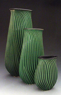 green Carved Vases
